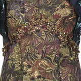 Vic Dress long sleeveless gold brass burgundy copper green trim floral jacquard front close-up image photo picture
