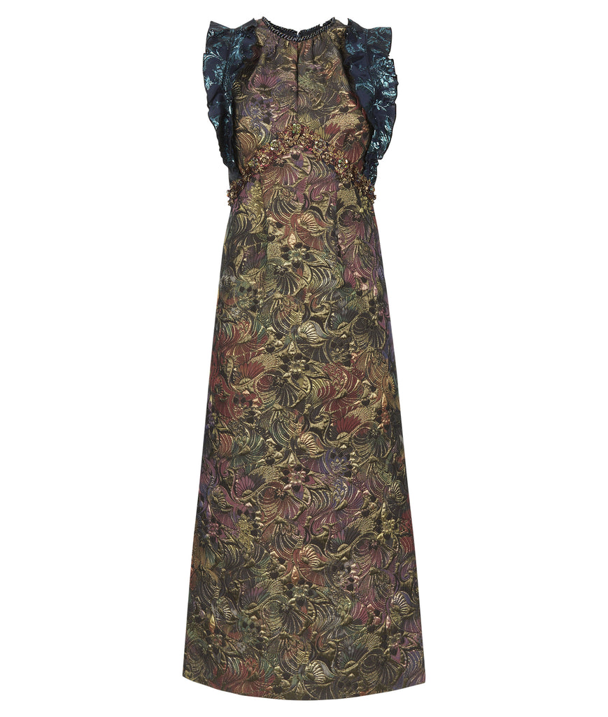 Vic Dress long sleeveless gold brass burgundy copper floral jacquard front image photo picture
