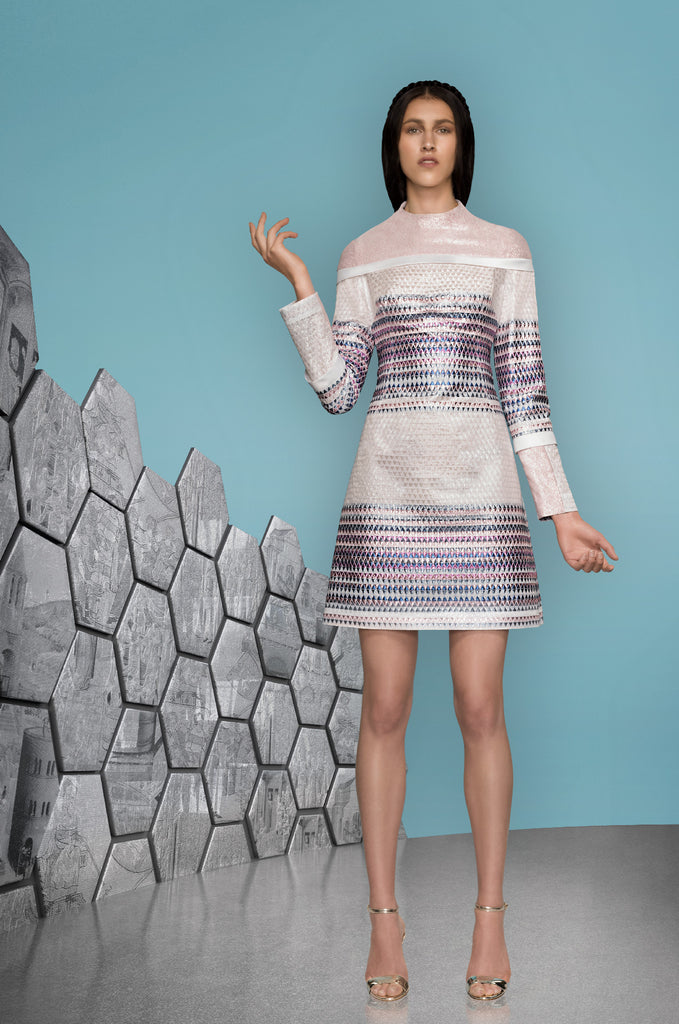 Triangle Dress long sleeve blue purple pink white model image photo picture