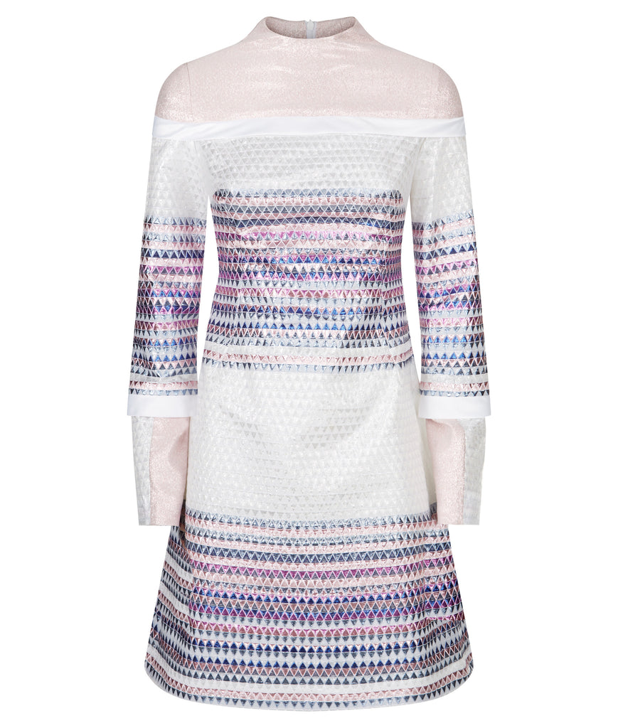 Triangle Dress long sleeve blue purple pink white front image photo picture
