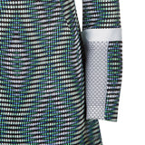 Diamond Weave Dress pattern blue grey gray green white black mesh long sleeve front close-up image photo picture