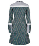 Diamond Weave Dress pattern blue grey gray green white black mesh long sleeve front image photo picture