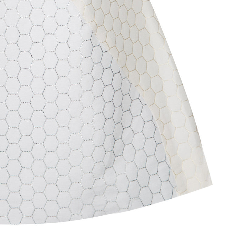 Hexagon Teir Panel Dress a-line short sleeve white silver front close-up image photo picture