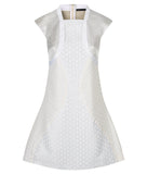 Hexagon Teir Panel Dress a-line short sleeve white silver front image photo picture