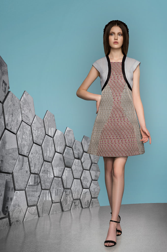 Teir Panel Dress short a-line sleeve cap pink beige texture design black white mesh contrast model image photo picture