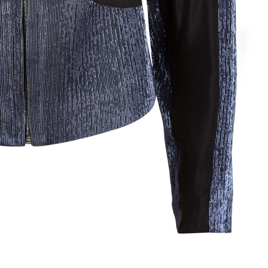 Black Sheer Zip Jacket outerwear top navy stretch panel sport front close-up image photo picture