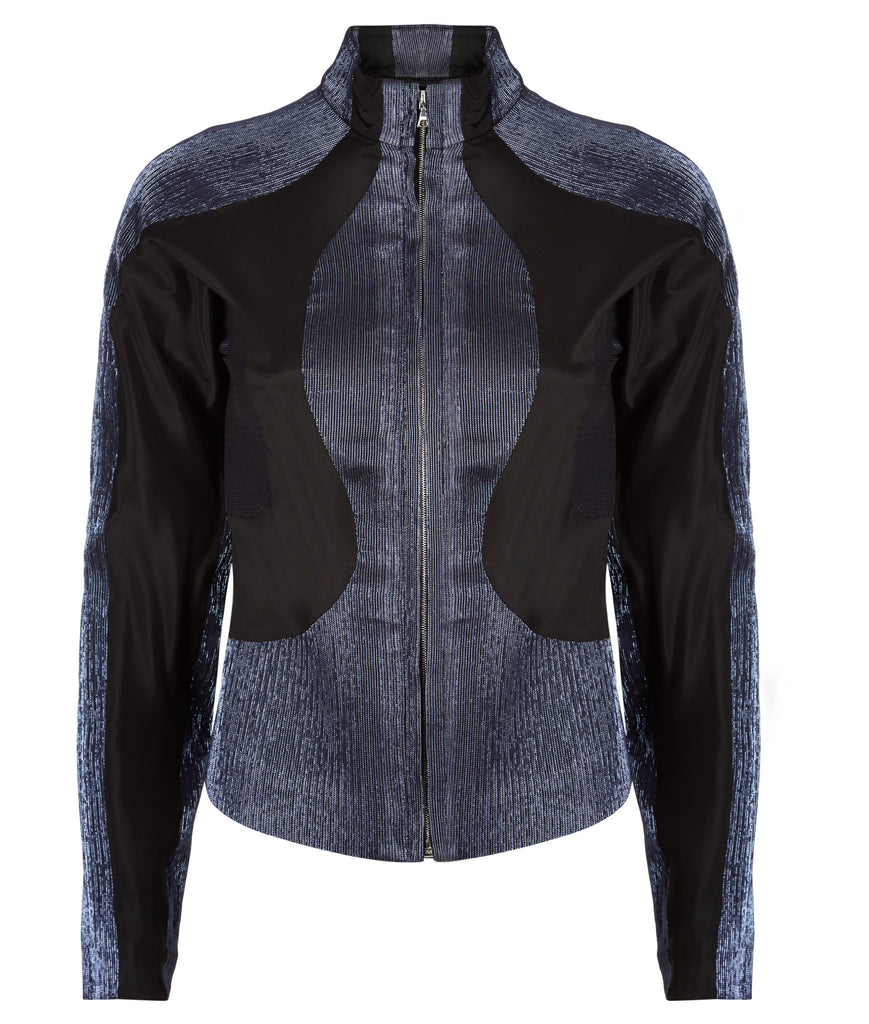 Black Sheer Zip Jacket outerwear top navy stretch panel sport front image photo picture