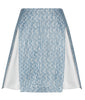 Blue Split Godet Skirt blue silver stripe texture front image photo picture