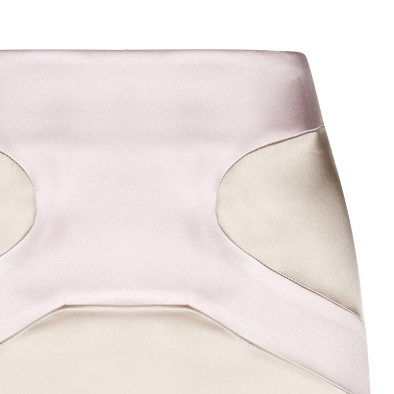 Contrast Tight Skirt stretch satin below knee beige pink front close-up image photo picture