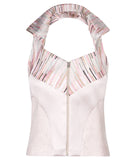 Diagonal Vest haltar sleeveless crop top pink stripe, solid stretch front image photo picture