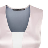 Stretch Tank sleevelss top blouse pink beige shiny satin stretch front close-up image photo picture