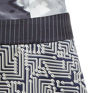 Print collared swing dress knee length black white grey gray silk stretch spandex front close-up image photo picture