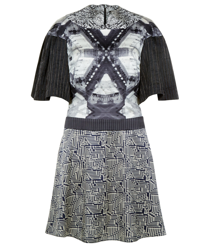 Print collared swing dress knee length black white grey gray silk stretch spandex front image photo picture