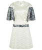 White Collared Swing Dess a-line sequin medium length sleeves stretch silk texture front image photo picture