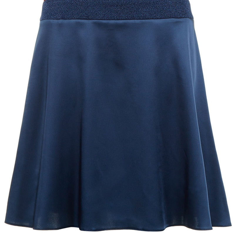 Collared Swing Dress mid-length pleated short sleeve blue satin textured hexagon front close-up image photo picture