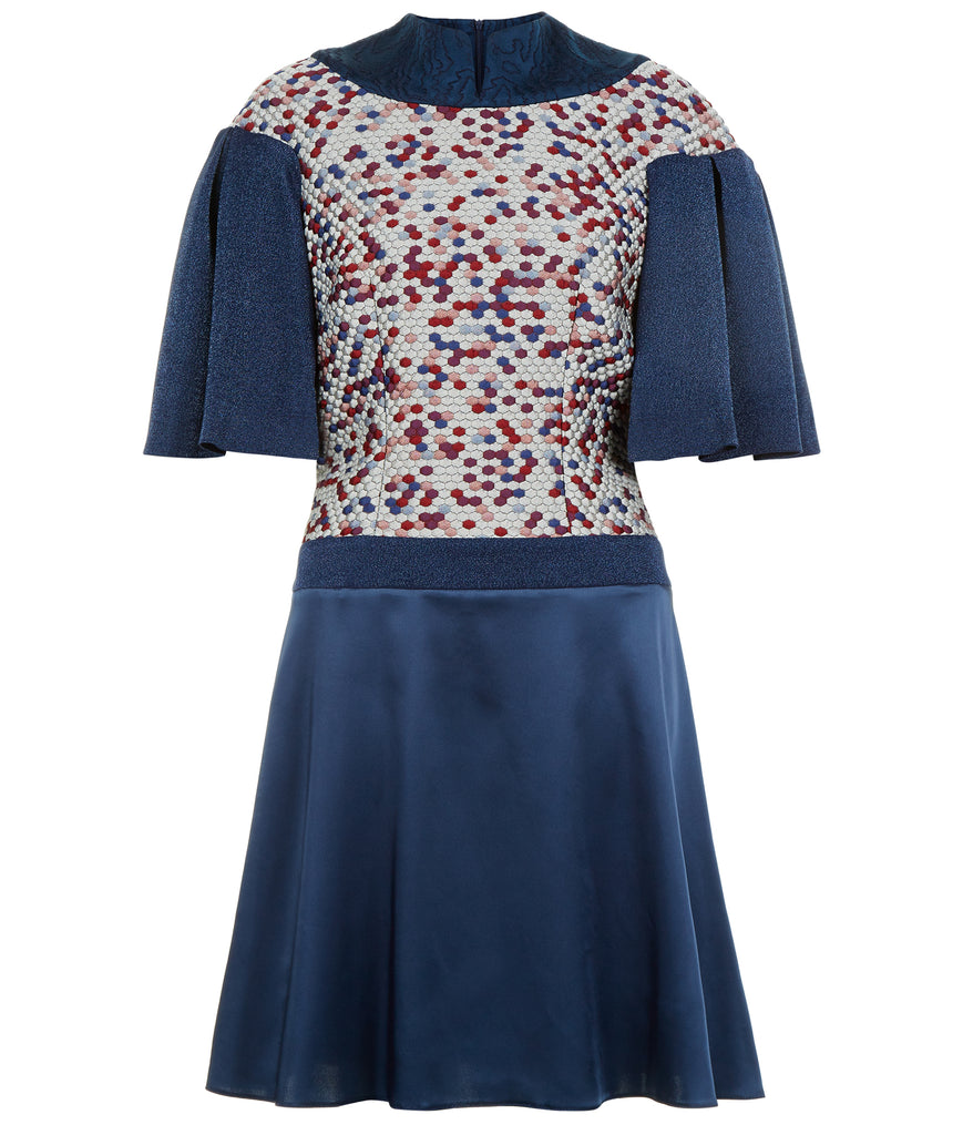 Collared Swing Dress mid-length pleated short sleeve blue satin textured hexagon front image photo picture