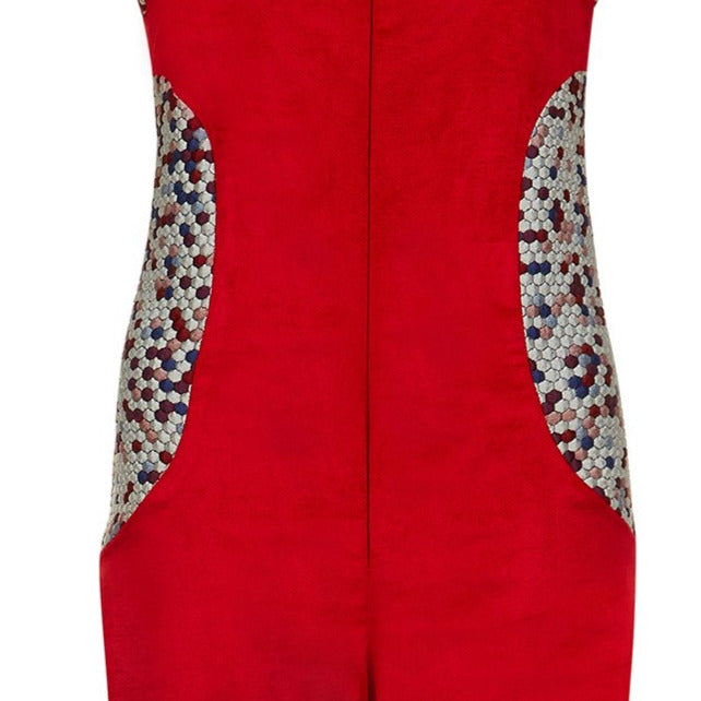 Red Jumpsuit pantsuit one piece velveteen velvet contrast hexagon panel close-up image photo picture