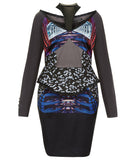 Print Drop Shoulder Dress long sleeve peplum taupe blue burgundy red blue beige contrast hexagon panel image photo picture