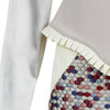 Drop Shoulder Dress peplum grey gray stretch contrast hexagon red beige blue pleated trim close-up image photo picture