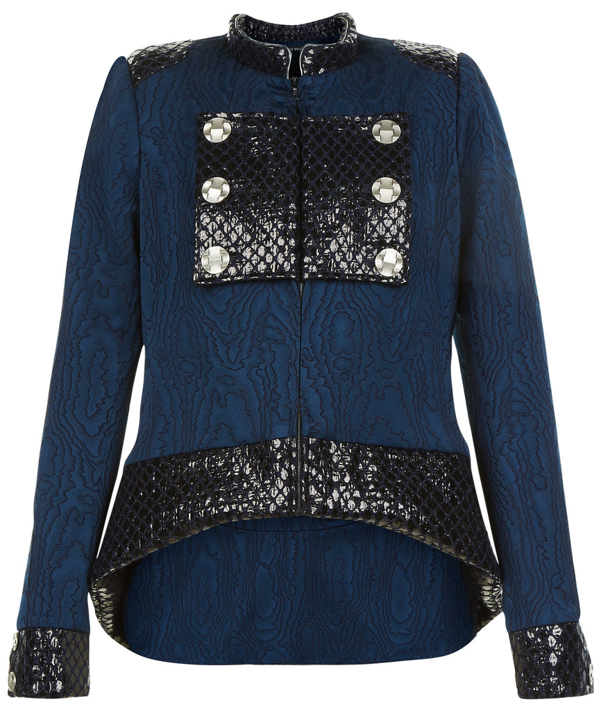 Dark Flap Jacket outwear coat navy blue military textured shine silver buttons front image photo picture