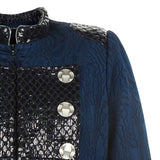 Dark Flap Jacket outwear coat navy blue military textured shine silver buttons front close-up image photo picture