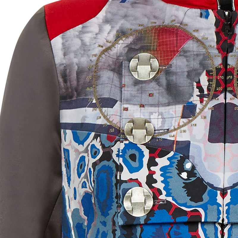 Print Flap Jacket outwear military taupe blue red beige white piping silver buttons front close-up image photo picture