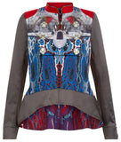 Print Flap Jacket outwear  military taupe blue red beige white piping silver buttons front image photo picture