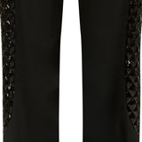 Black Sided Trouser pant pants slacks solid contrast panel sequin front close-up image photo picture