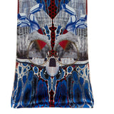 Print Cutted Dress long evening gown sleeveless burgundy red blue beige white jersey front close-up image photo picture