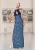 Zoom Dress long formal eveningwear sleevelss blue, stretch hexagon sequin sparkle model image photo picture