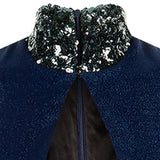 Zoom Dress long formal eveningwear sleevelss blue, stretch hexagon sequin sparkle front close-up image photo picture