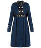 Navy Blue Placket Coat  jacket outerwear textured panel pleated button front image photo picture