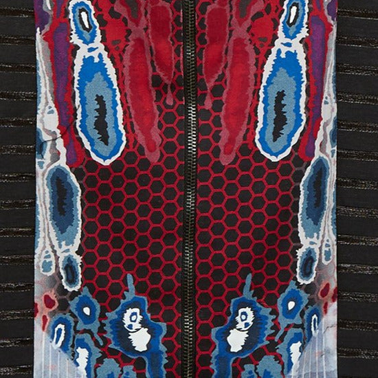 Print Cape long open backless black trim burgundy red blue beige white front close-up image photo picture