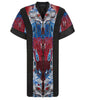 Print Cape long open backless black trim burgundy red blue beige white front image photo picture