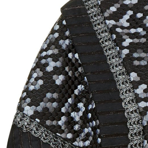 Zip Caper open back black grey gray hexagon solid pleats silver trim front close-up image photo picture