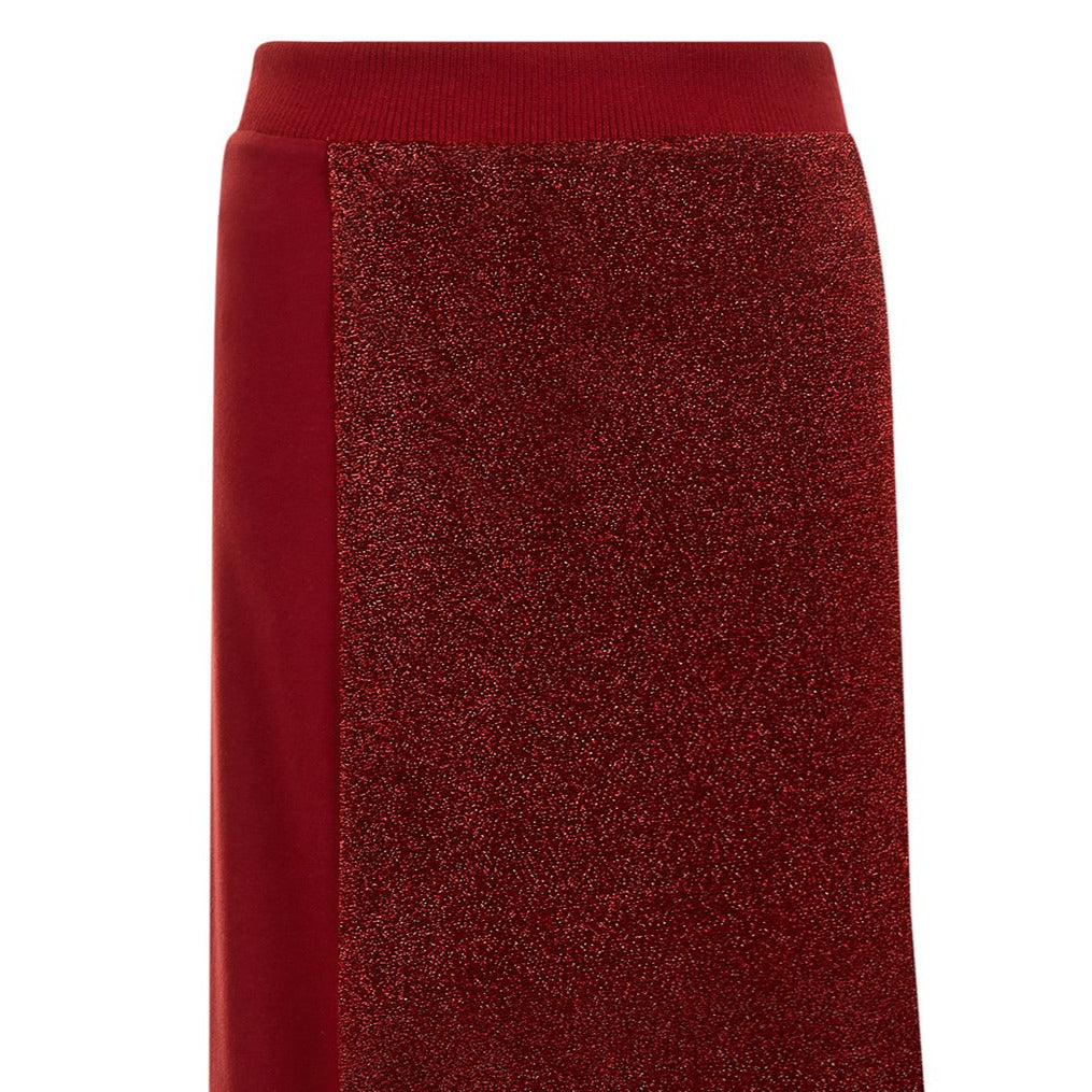 Red long fold skirt soft knit jersey metallic panel front close-up image photo picture