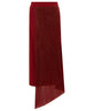 Red long fold skirt soft knit jersey metallic panel front image photo picture