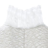 Square Squiggle Dress short sleeves taupe panel beige square texture white lace trim cback close-up image photo picture