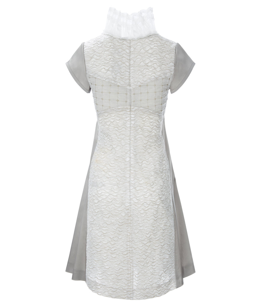 Square Squiggle Dress short sleeves taupe panel beige square texture white lace trim collar back image photo picture