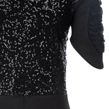 Dark Ruche Dress short sleeve black texture stretch sequin close-up image photo picture