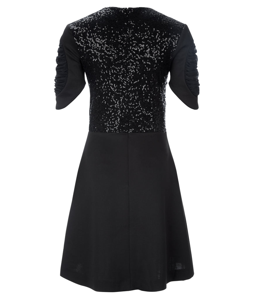 Dark Ruche Dress short sleeve black texture stretch sequin back image photo picture