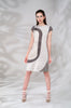 Side Curve Dress panel stretch taupe ruche blue beige model image photo picture