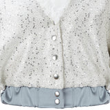 Bomber Jacket crop coat outerwear silver sparkle beige gray grey contrast lace collar snaps front close-up image photo picture