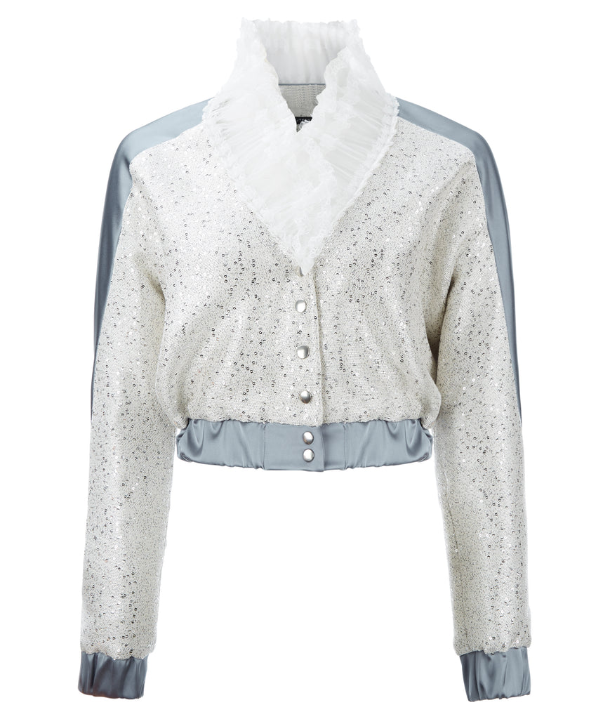 Bomber Jacket crop coat outerwear silver sparkle beige gray grey contrast lace collar snaps front image photo picture
