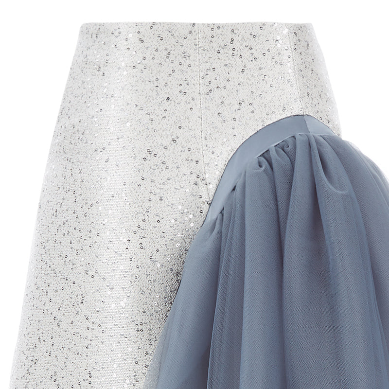 Curve Panel Skirt beige blus sparkle zipper contrast grey gray tulle side image close-up photo picture