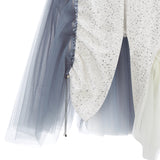 Curve Panel Skirt beige blus sparkle zipper contrast grey gray tulle close-up image photo picture