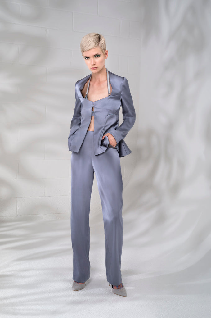 Corset Jacket godet dropped neckline grey gray stretch satin model image photo picture