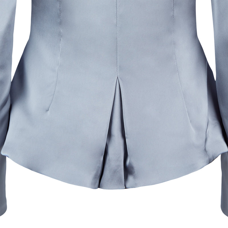 Corset Jacket godet dropped neckline grey gray stretch satin back close-up image photo picture