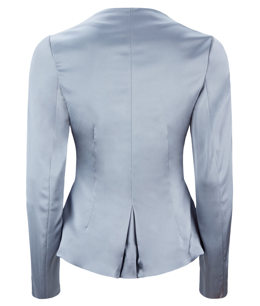 Corset Jacket godet dropped neckline grey gray stretch satin back image photo picture