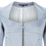 Corset Jacket godet dropped neckline grey gray stretch satin front close-up image photo picture